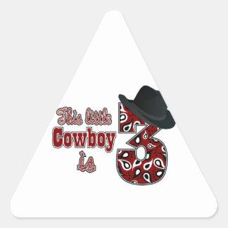 Little Cowboy 3rd Birthday Triangle Sticker