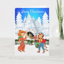 Little Cowboy and Cowgirl With Rope Lights  Horse Holiday Card