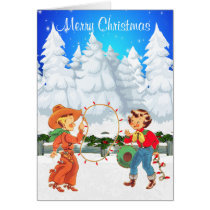 Little Cowboy and Cowgirl With Rope Lights Winter Card