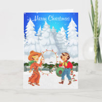 Little Cowboy and Cowgirl With Rope Lights Winter Holiday Card