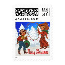 Little Cowboy and Cowgirl With Rope Lights Winter Postage