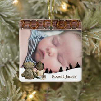 Little Cowboy and Teddy Bear Country Christmas Ceramic Ornament