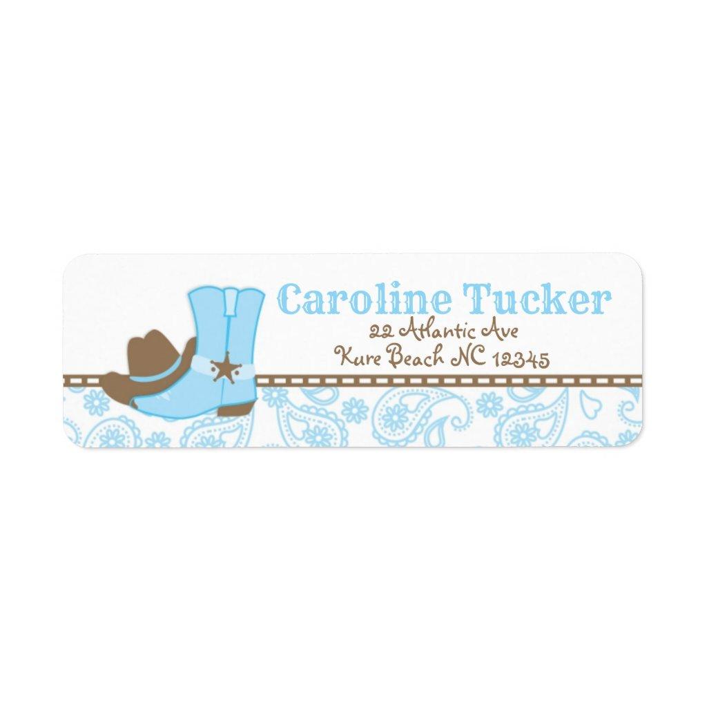 Little Cowboy Baby Shower Address Label blue brown