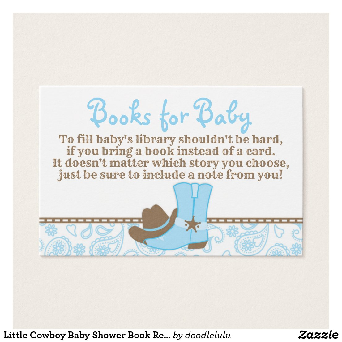 Little Cowboy Baby Shower Book Request Card