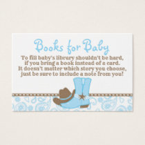 Little Cowboy Baby Shower Book Request Card