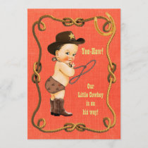 Little Cowboy Baby Shower Brunette Invitation