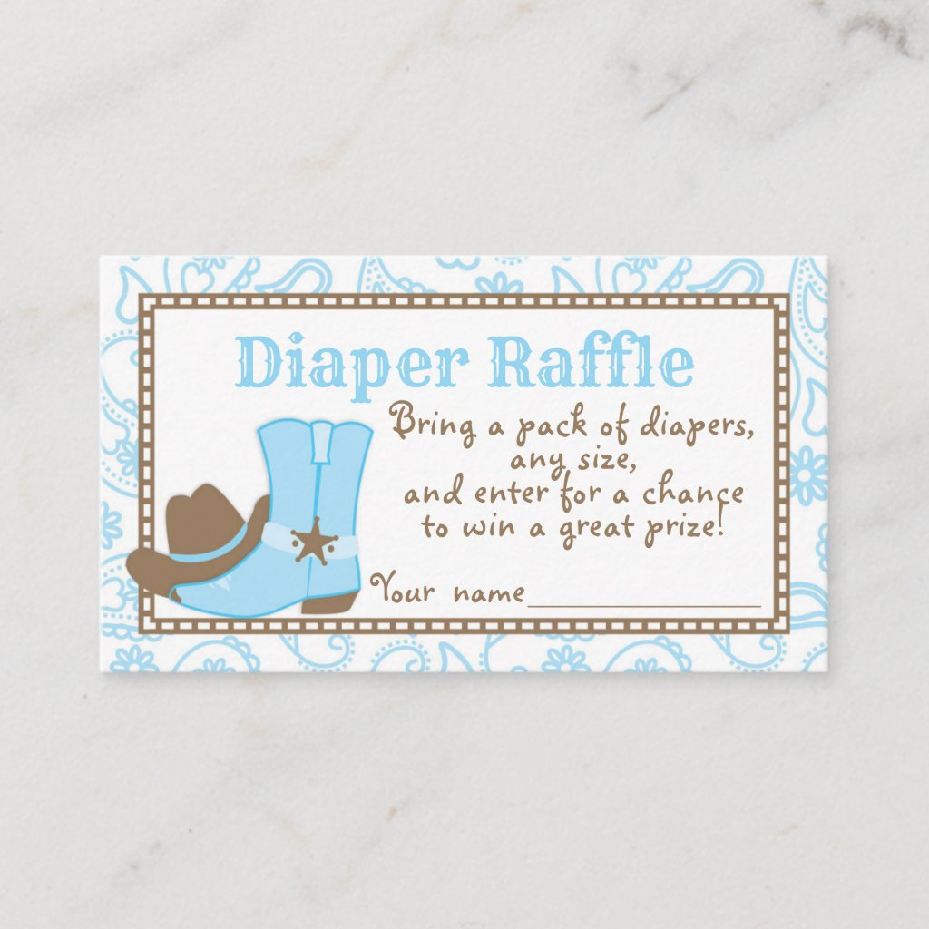 Little Cowboy Baby Shower Diaper Raffle Ticket Enclosure Card