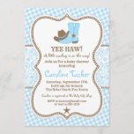 """Little Cowboy Baby Shower Invitation blue & brown<br><div class=""""desc"""">This design is in our """"Little Cowboy"""" baby shower theme in blue and brown. The collection of coordinating products is available in our shop, zazzle.com/doodlelulu*. Contact us if you need this design applied to a specific product to create your own unique matching item or gift! Thank you so much for...</div>"""