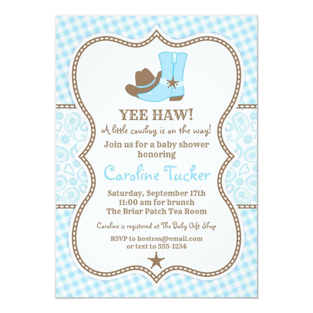 Little Cowboy Baby Shower Invitation blue & brown