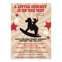 Little Cowboy Baby Shower Invite, Rocking Horse Card