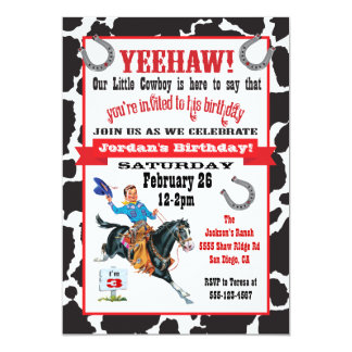 Little cowboy birthday party invitation