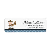Little Cowboy Blue Polka Dots Label