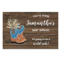 Little Cowboy Bootie Dark Wood Baby Shower Sign