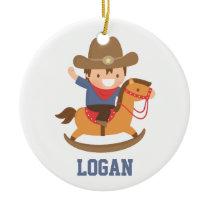 Little Cowboy on Rocking Horse Boys Room Decor Ceramic Ornament