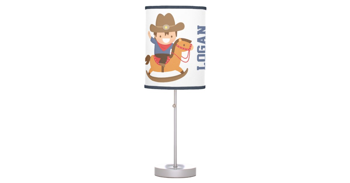 Little Cowboy On Rocking Horse Boys Room Decor Table Lamp Zazzle Com