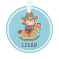 Little Cowboy on Rocking Horse Boys Room Ornament
