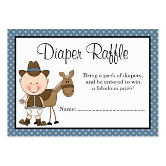 Little Cowboy Polka Dots Baby Shower Diaper Raffle Large Business Cards (Pack Of 100)