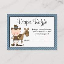 Little Cowboy Polka Dots Baby Shower Diaper Raffle Enclosure Card