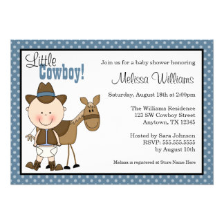 Little Cowboy Polka Dots Baby Shower Invitations