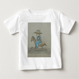 little cowboy riding on toy horse baby T-Shirt