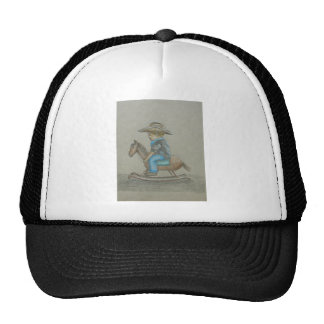 little cowboy riding on toy horse trucker hat