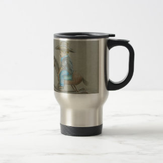 little cowboy riding on toy horse 15 oz stainless steel travel mug
