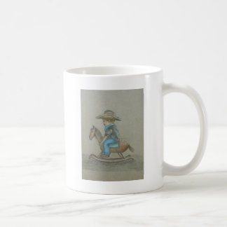 little cowboy riding on toy horse classic white coffee mug