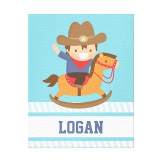 Little Cowboy Rocking Horse Boys Room Decor Canvas Print