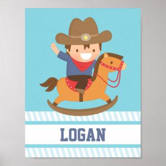 Little Cowboy Rocking Horse Boys Room Decor Poster
