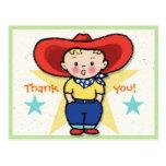 Little Cowboy Thank you! Card Postcard