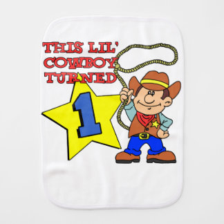 Little Cowboy Turned One Baby Burp Cloth