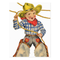Little Cowboy With Lariat Postcard