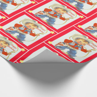 Little Cowboy With Rope Happy Birthday 2 Wrapping Paper