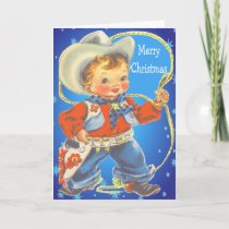 Little Cowboy With Rope Merry Christmas Holiday Card