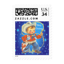 Little Cowboy With Rope Merry Christmas Postage