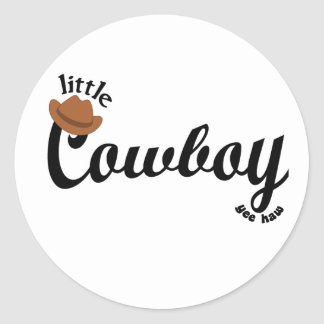 little cowboy yeehaw classic round sticker