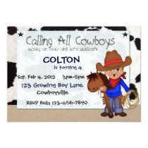 "Little Cowboys Custom Invitations 5"" X 7"" Invitation Card"