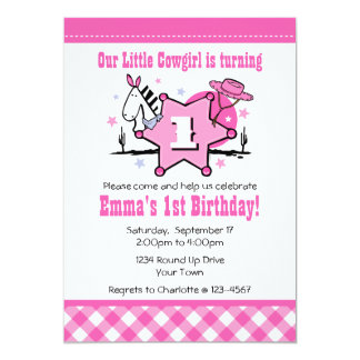 Little Cowgirl 1st Birthday Party Invitation