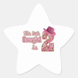 Little Cowgirl 2nd Birthday Star Sticker