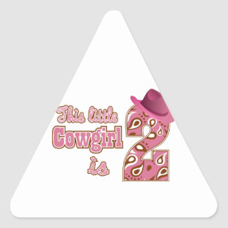 Little Cowgirl 2nd Birthday Triangle Sticker