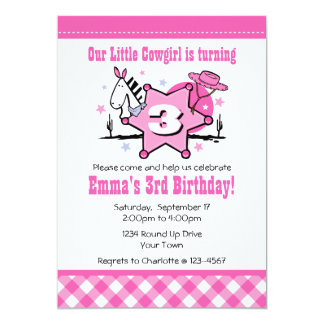 Little Cowgirl 3rd Birthday Party Invitation
