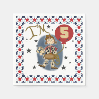 Little Cowgirl 5th Birthday Paper Napkins
