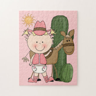 Little Cowgirl and Brown Cow Pony - Western Puzzle