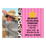 "Little Cowgirl Birthday Party 5"" X 7"" Invitation Card"