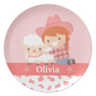 Little Cowgirl Hugs Cute Lamb For Girls Plate