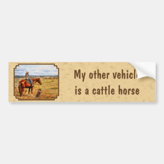 Little Cowgirl on Cattle Horse Car Bumper Sticker
