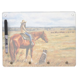 Little Cowgirl on Cattle Horse Dry Erase Board With Keychain Holder