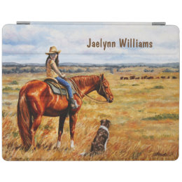 Little Cowgirl on Cattle Horse iPad Smart Cover