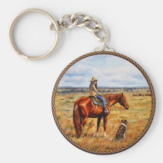 Little Cowgirl on Cattle Horse Key Chain