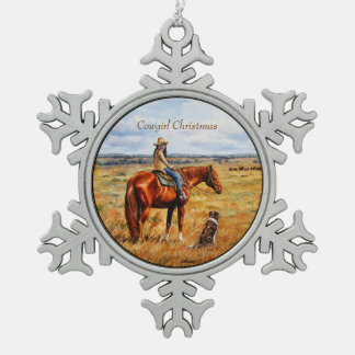 Little Cowgirl on Cattle Horse Snowflake Pewter Christmas Ornament